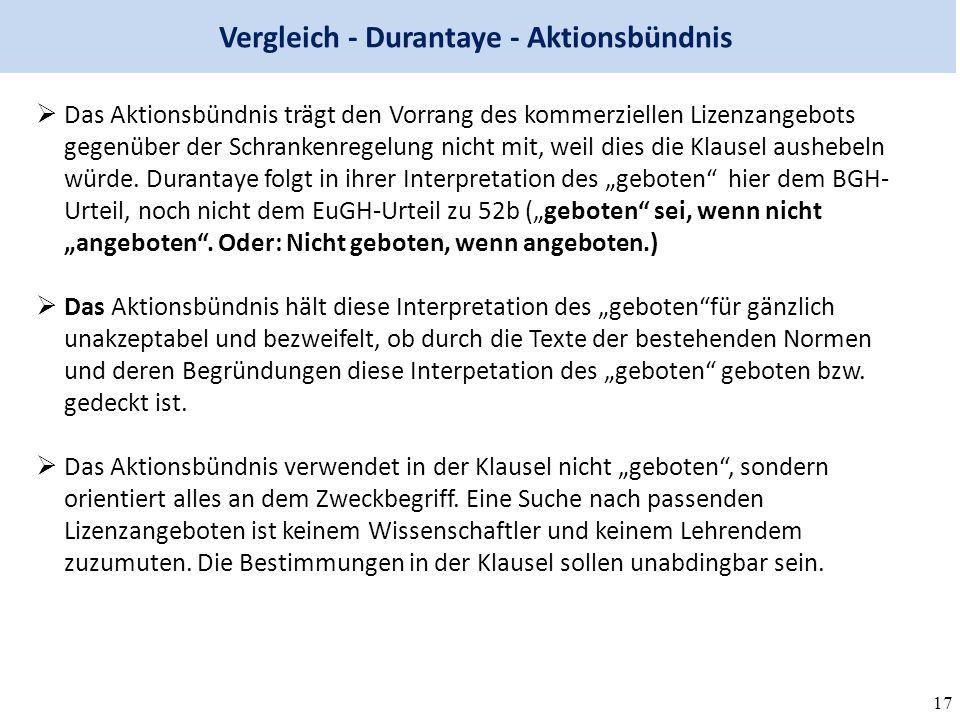 17 Vergleich - Durantaye - Aktionsbündnis  Das Aktionsbündnis trägt den Vorrang des kommerziellen Lizenzangebots gegenüber der Schrankenregelung nicht mit, weil dies die Klausel aushebeln würde.