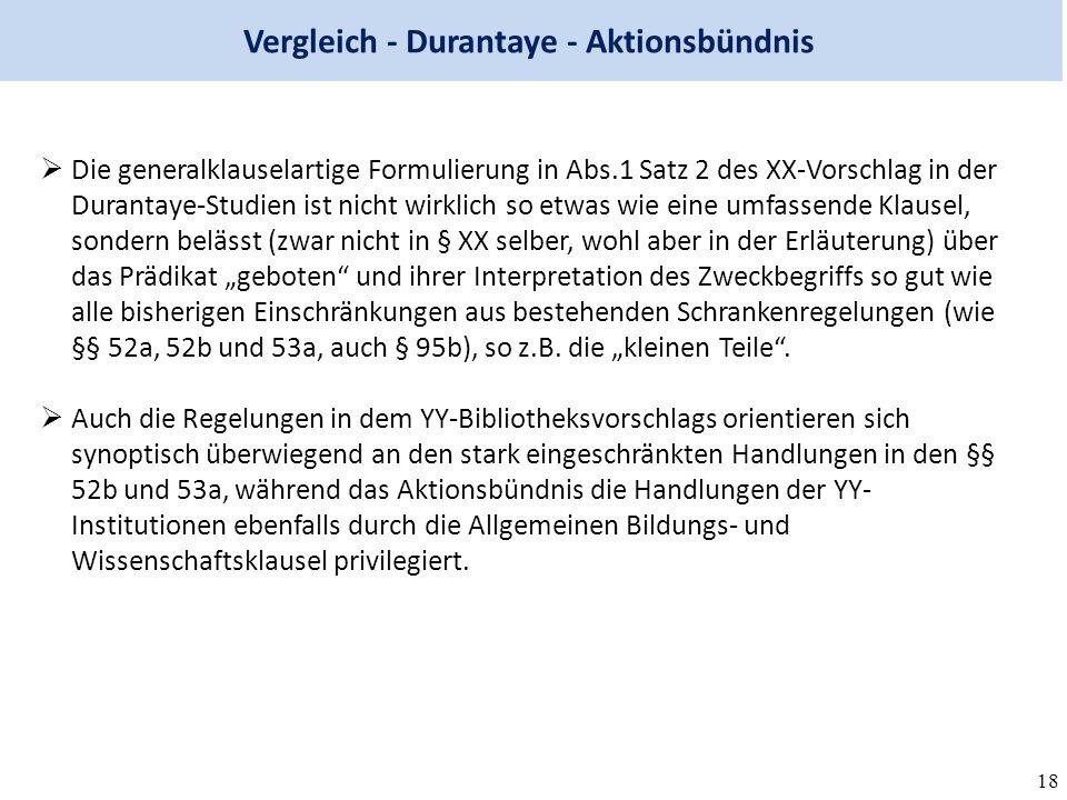 """18 Vergleich - Durantaye - Aktionsbündnis  Die generalklauselartige Formulierung in Abs.1 Satz 2 des XX-Vorschlag in der Durantaye-Studien ist nicht wirklich so etwas wie eine umfassende Klausel, sondern belässt (zwar nicht in § XX selber, wohl aber in der Erläuterung) über das Prädikat """"geboten und ihrer Interpretation des Zweckbegriffs so gut wie alle bisherigen Einschränkungen aus bestehenden Schrankenregelungen (wie §§ 52a, 52b und 53a, auch § 95b), so z.B."""