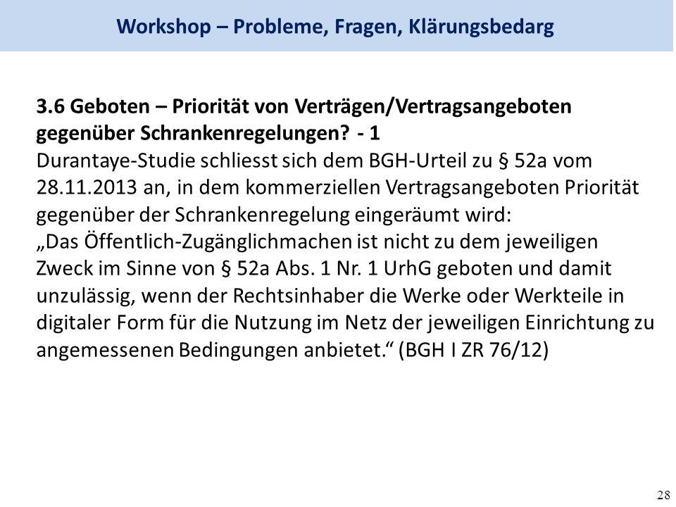 28 Workshop – Probleme, Fragen, Klärungsbedarg 3.6 Geboten – Priorität von Verträgen/Vertragsangeboten gegenüber Schrankenregelungen.