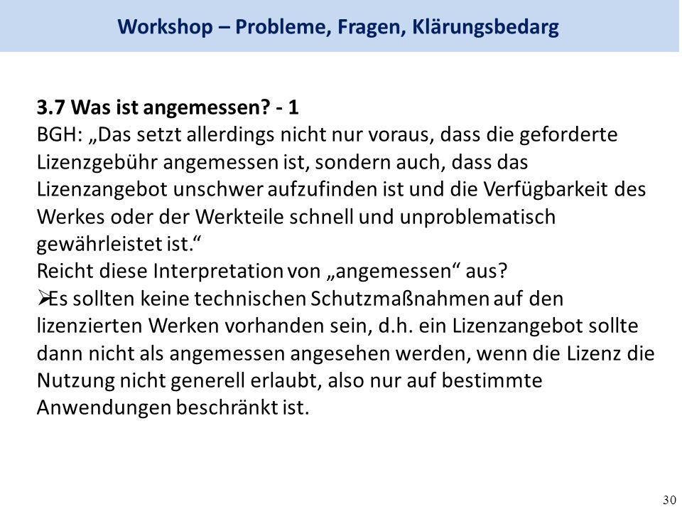 30 Workshop – Probleme, Fragen, Klärungsbedarg 3.7 Was ist angemessen.