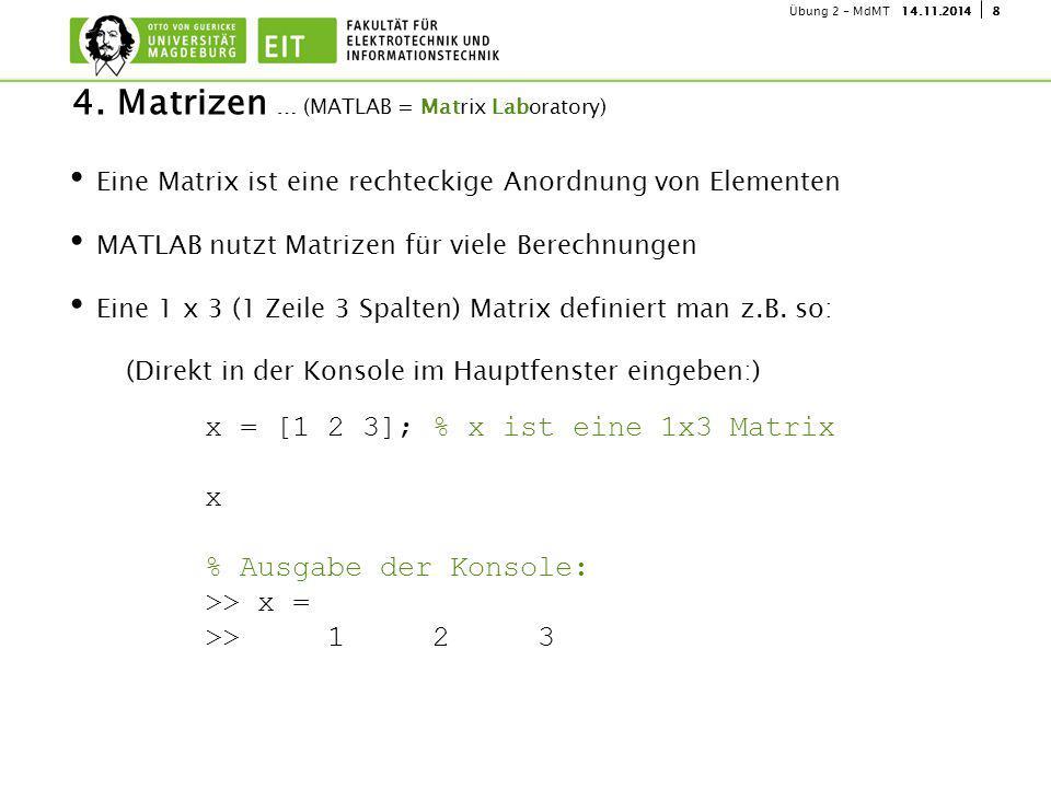 814.11.2014Übung 2 - MdMT Eine Matrix ist eine rechteckige Anordnung von Elementen MATLAB nutzt Matrizen für viele Berechnungen Eine 1 x 3 (1 Zeile 3 Spalten) Matrix definiert man z.B.