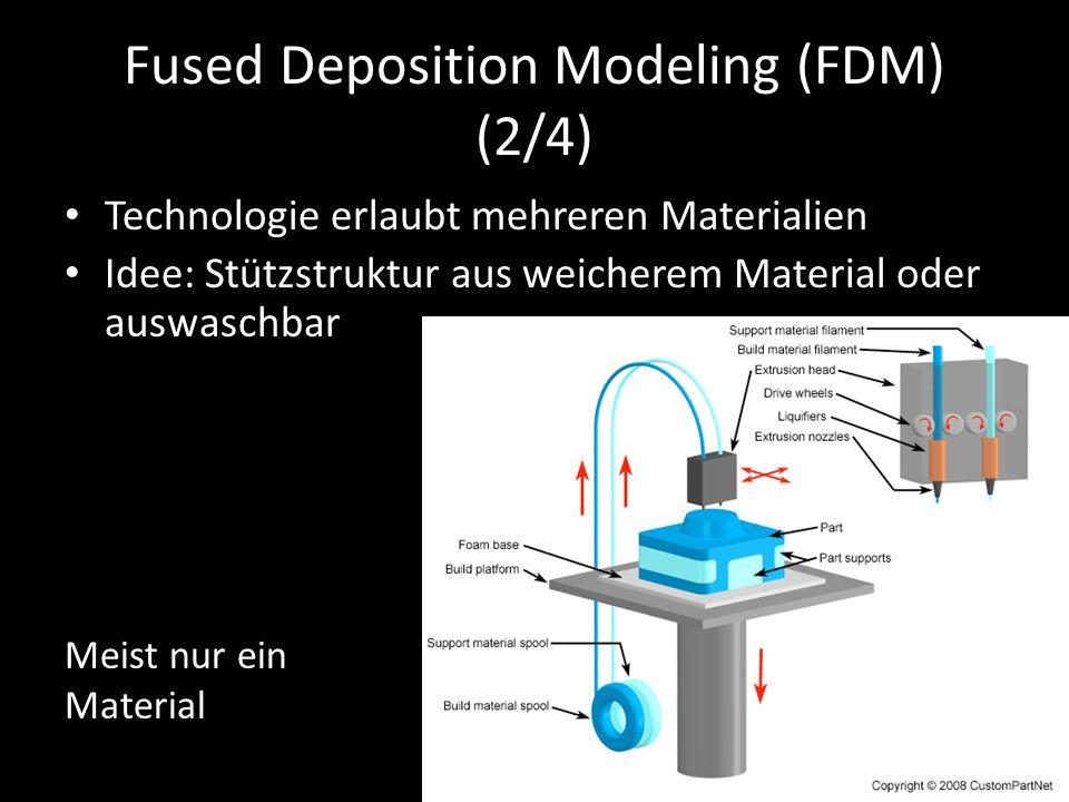 Fused Deposition Modeling (FDM) (2/4) Technologie erlaubt mehreren Materialien Idee: Stützstruktur aus weicherem Material oder auswaschbar Meist nur e