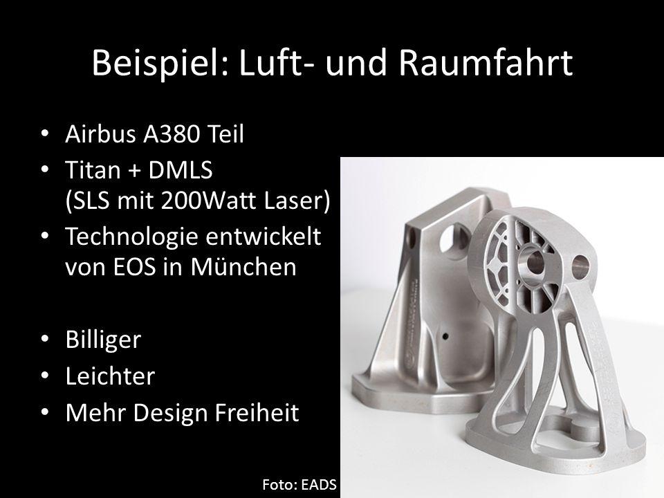 Beispiel: Luft- und Raumfahrt Airbus A380 Teil Titan + DMLS (SLS mit 200Watt Laser) Technologie entwickelt von EOS in München Billiger Leichter Mehr D