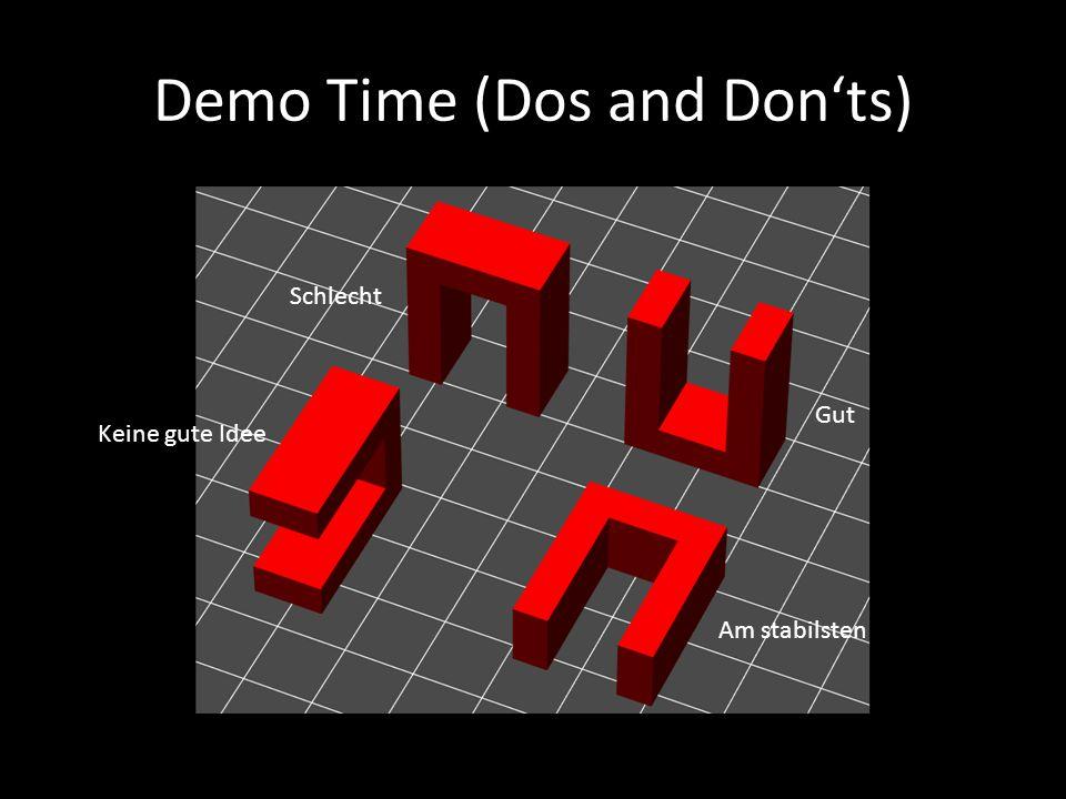 Demo Time (Dos and Don'ts) Am stabilsten Gut Schlecht Keine gute Idee