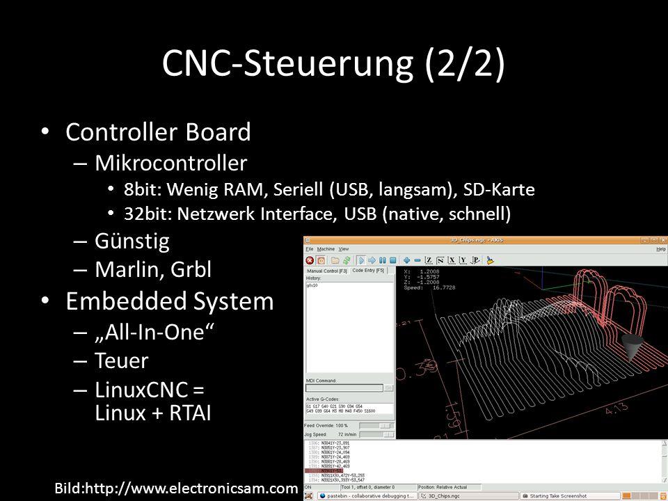 "CNC-Steuerung (2/2) Controller Board – Mikrocontroller 8bit: Wenig RAM, Seriell (USB, langsam), SD-Karte 32bit: Netzwerk Interface, USB (native, schnell) – Günstig – Marlin, Grbl Embedded System – ""All-In-One – Teuer – LinuxCNC = Linux + RTAI Bild:http://www.electronicsam.com"