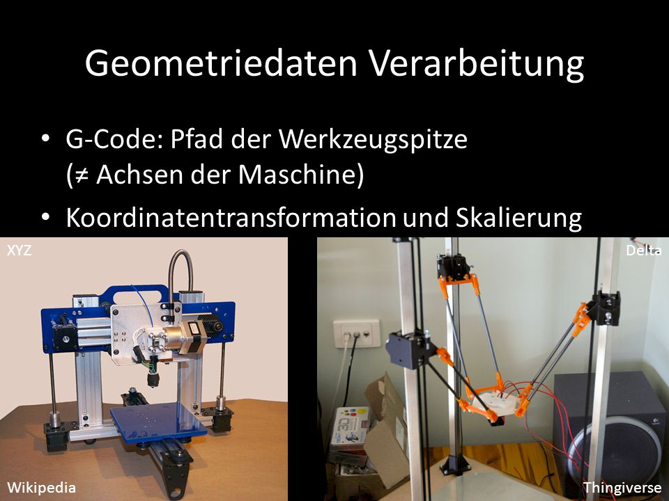 Geometriedaten Verarbeitung G-Code: Pfad der Werkzeugspitze (≠ Achsen der Maschine) Koordinatentransformation und Skalierung WikipediaThingiverse XYZ Delta