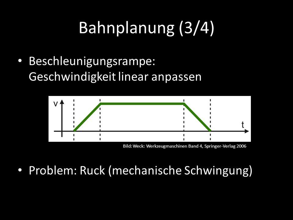 Bahnplanung (3/4) Beschleunigungsrampe: Geschwindigkeit linear anpassen Problem: Ruck (mechanische Schwingung) Bild: Weck: Werkzeugmaschinen Band 4, Springer-Verlag 2006