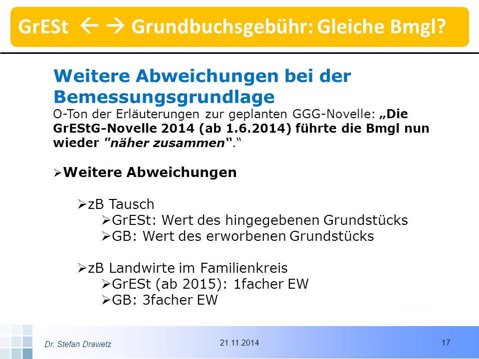 """Dr. Stefan Drawetz Weitere Abweichungen bei der Bemessungsgrundlage O-Ton der Erläuterungen zur geplanten GGG-Novelle: """"Die GrEStG-Novelle 2014 (ab 1."""