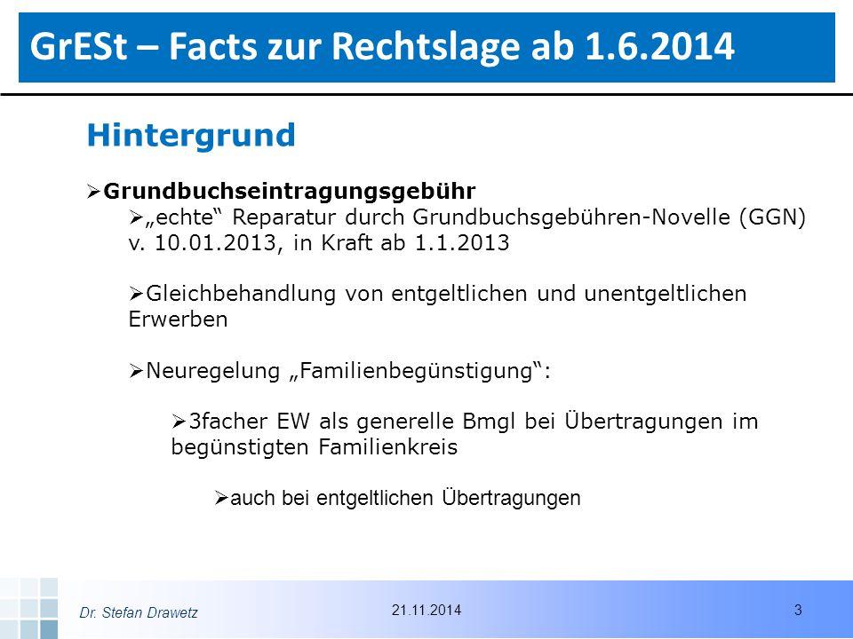 """Dr. Stefan Drawetz Hintergrund  Grundbuchseintragungsgebühr  """"echte"""" Reparatur durch Grundbuchsgebühren-Novelle (GGN) v. 10.01.2013, in Kraft ab 1.1"""