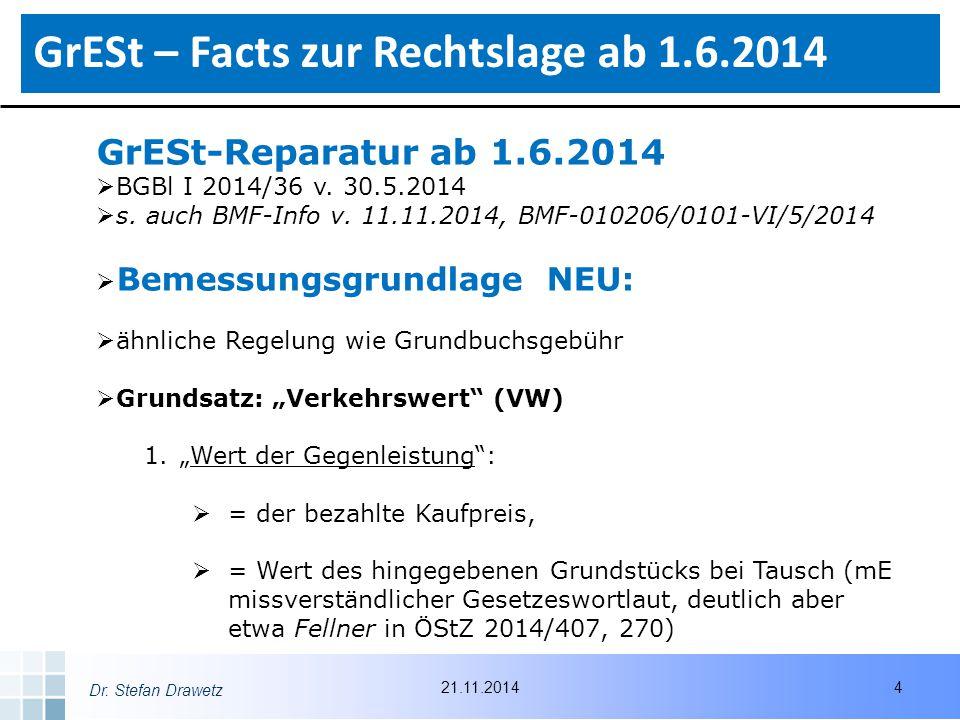 Dr.Stefan Drawetz GrESt-Reparatur ab 1.6.2014  BGBl I 2014/36 v.
