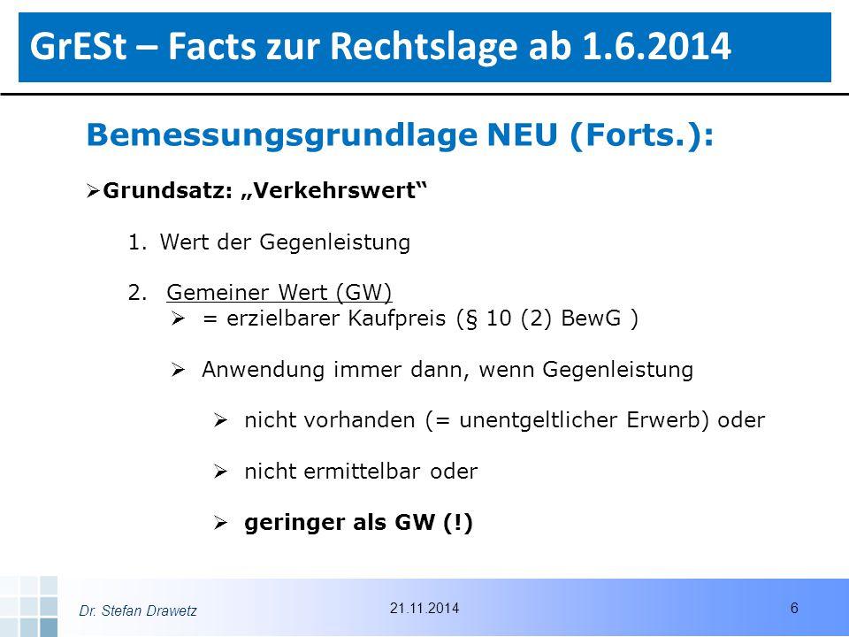"Dr. Stefan Drawetz Bemessungsgrundlage NEU (Forts.):  Grundsatz: ""Verkehrswert"" 1.Wert der Gegenleistung 2. Gemeiner Wert (GW)  = erzielbarer Kaufpr"