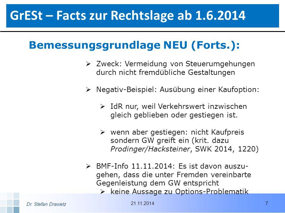 Dr. Stefan Drawetz Bemessungsgrundlage NEU (Forts.):  Zweck: Vermeidung von Steuerumgehungen durch nicht fremdübliche Gestaltungen  Negativ-Beispiel