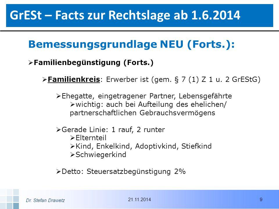 Dr. Stefan Drawetz Bemessungsgrundlage NEU (Forts.):  Familienbegünstigung (Forts.)  Familienkreis: Erwerber ist (gem. § 7 (1) Z 1 u. 2 GrEStG)  Eh