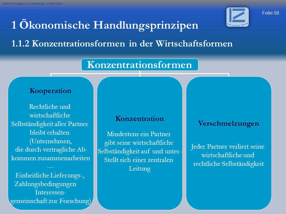 Folie 58 © Skript IHK Augsburg in Überarbeitung Christian Zerle 1 Ökonomische Handlungsprinzipen 1.1.2 Konzentrationsformen in der Wirtschaftsformen K
