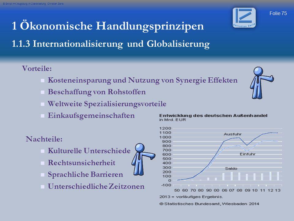 Folie 75 © Skript IHK Augsburg in Überarbeitung Christian Zerle 1 Ökonomische Handlungsprinzipen 1.1.3 Internationalisierung und Globalisierung Vortei