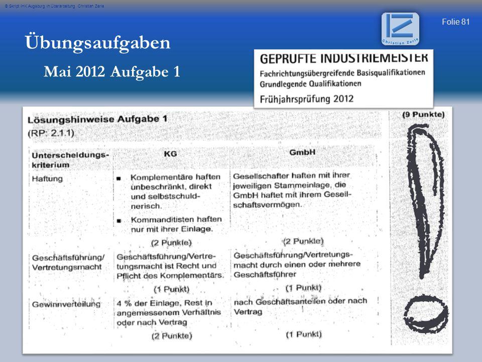 Folie 81 © Skript IHK Augsburg in Überarbeitung Christian Zerle Übungsaufgaben Mai 2012 Aufgabe 1