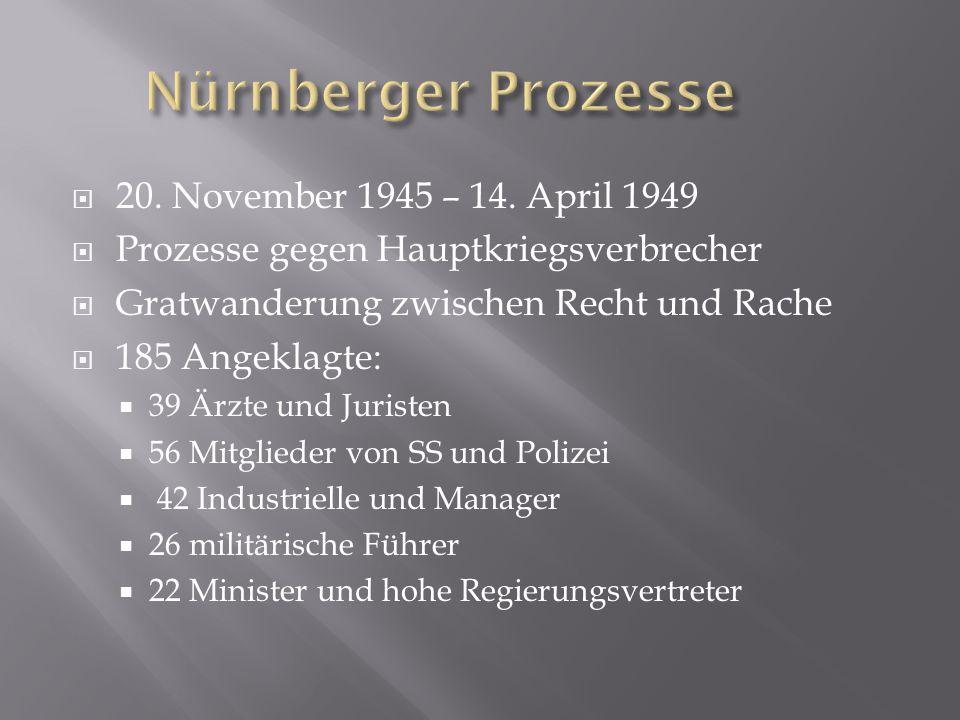  20. November 1945 – 14. April 1949  Prozesse gegen Hauptkriegsverbrecher  Gratwanderung zwischen Recht und Rache  185 Angeklagte:  39 Ärzte und