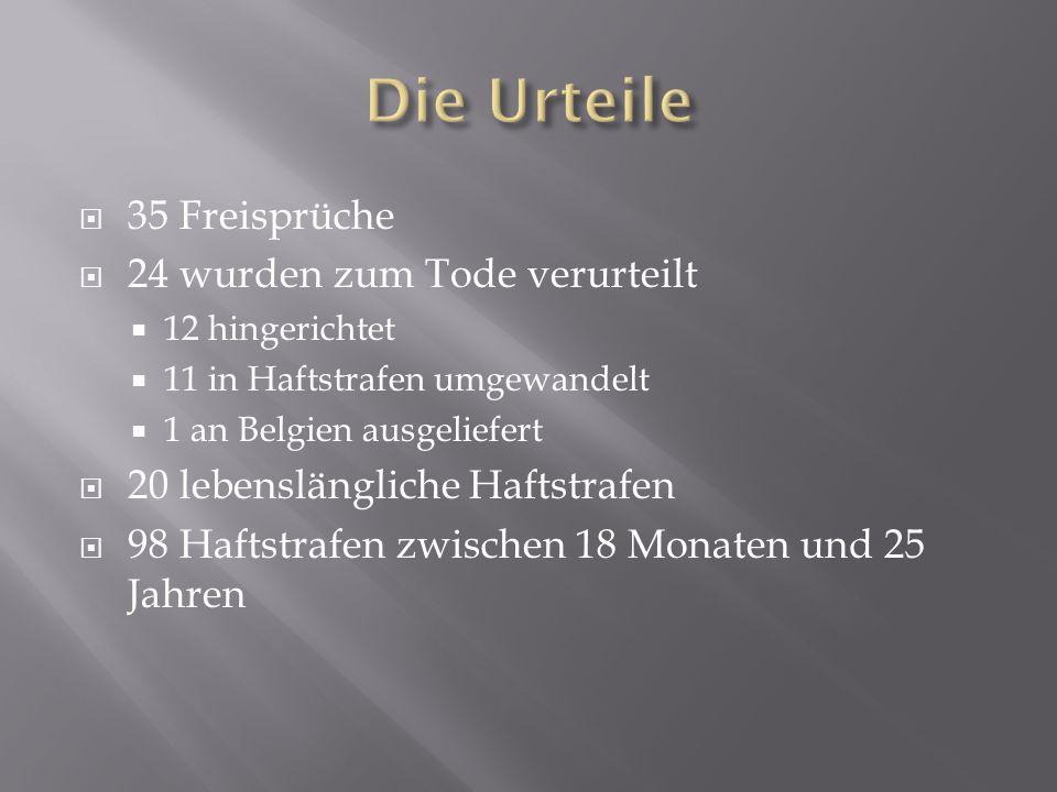  35 Freisprüche  24 wurden zum Tode verurteilt  12 hingerichtet  11 in Haftstrafen umgewandelt  1 an Belgien ausgeliefert  20 lebenslängliche Ha
