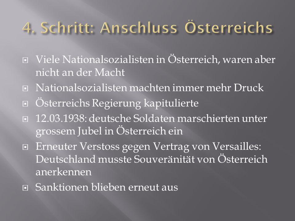  Viele Nationalsozialisten in Österreich, waren aber nicht an der Macht  Nationalsozialisten machten immer mehr Druck  Österreichs Regierung kapitu