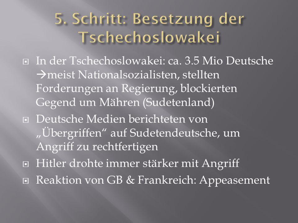  In der Tschechoslowakei: ca. 3.5 Mio Deutsche  meist Nationalsozialisten, stellten Forderungen an Regierung, blockierten Gegend um Mähren (Sudetenl