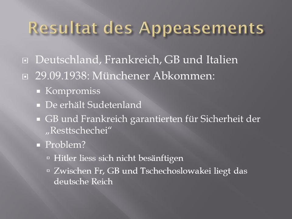 Deutschland, Frankreich, GB und Italien  29.09.1938: Münchener Abkommen:  Kompromiss  De erhält Sudetenland  GB und Frankreich garantierten für
