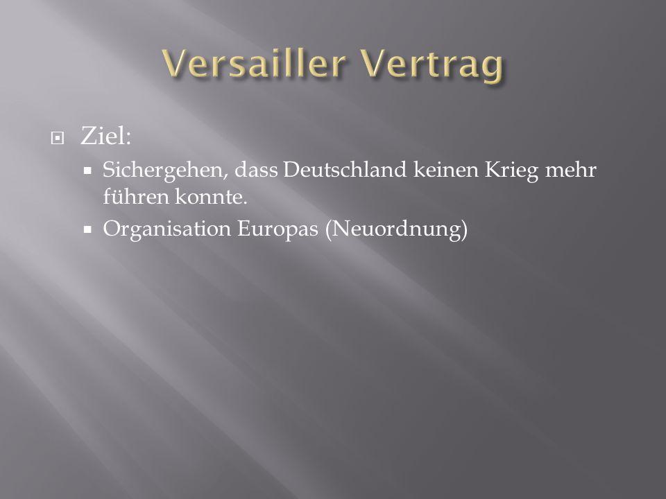 Ziel:  Sichergehen, dass Deutschland keinen Krieg mehr führen konnte.  Organisation Europas (Neuordnung)