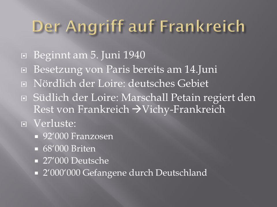  Beginnt am 5. Juni 1940  Besetzung von Paris bereits am 14.Juni  Nördlich der Loire: deutsches Gebiet  Südlich der Loire: Marschall Petain regier