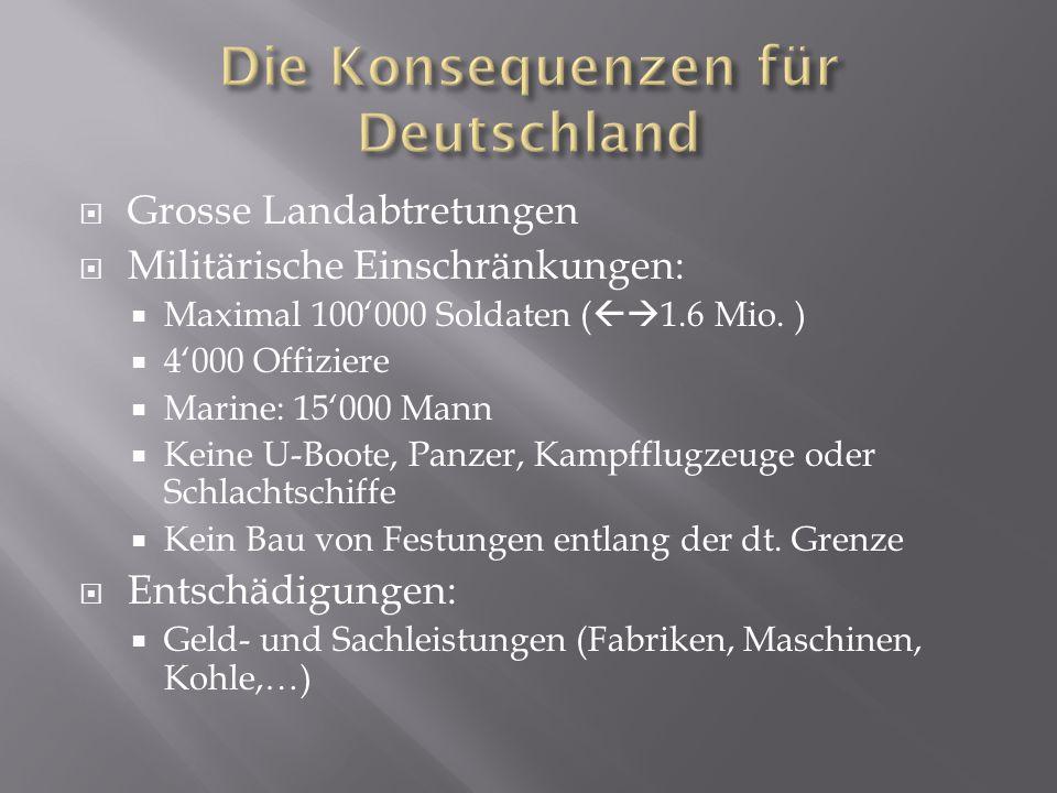 Grosse Landabtretungen  Militärische Einschränkungen:  Maximal 100'000 Soldaten (  1.6 Mio. )  4'000 Offiziere  Marine: 15'000 Mann  Keine U-