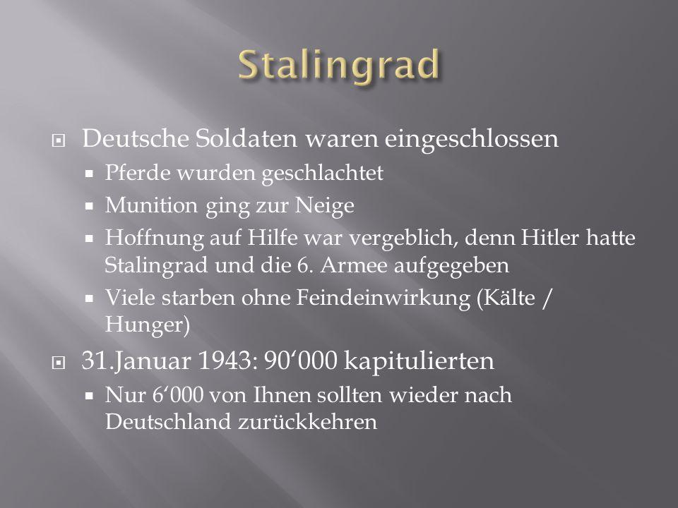  Deutsche Soldaten waren eingeschlossen  Pferde wurden geschlachtet  Munition ging zur Neige  Hoffnung auf Hilfe war vergeblich, denn Hitler hatte