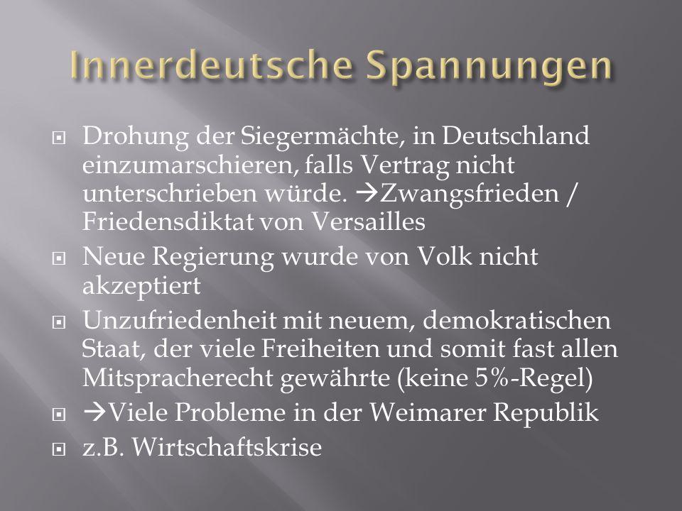  Drohung der Siegermächte, in Deutschland einzumarschieren, falls Vertrag nicht unterschrieben würde.  Zwangsfrieden / Friedensdiktat von Versailles