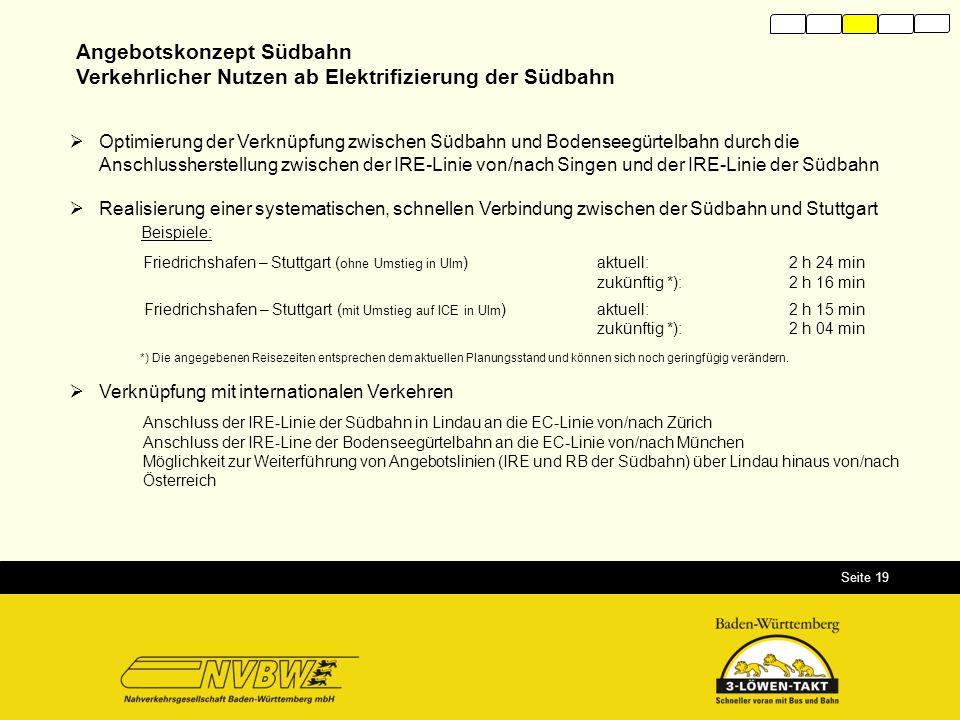 Seite 19 Angebotskonzept Südbahn Verkehrlicher Nutzen ab Elektrifizierung der Südbahn  Optimierung der Verknüpfung zwischen Südbahn und Bodenseegürte