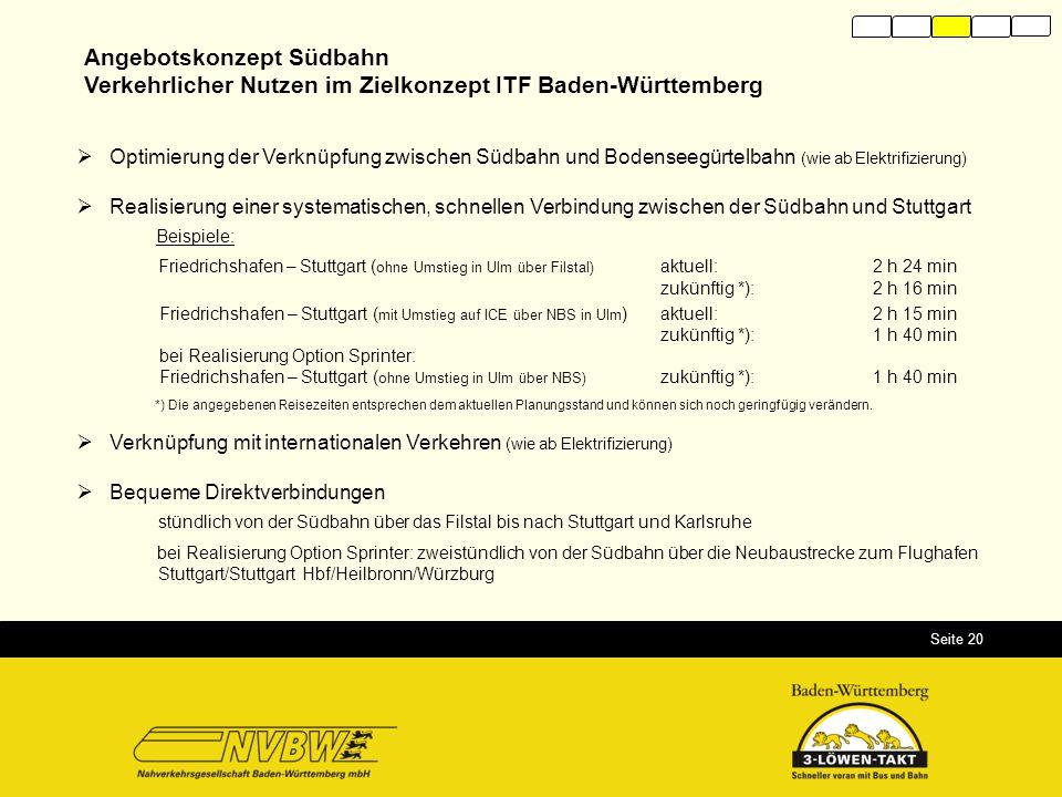 Seite 20 Angebotskonzept Südbahn Verkehrlicher Nutzen im Zielkonzept ITF Baden-Württemberg  Optimierung der Verknüpfung zwischen Südbahn und Bodensee