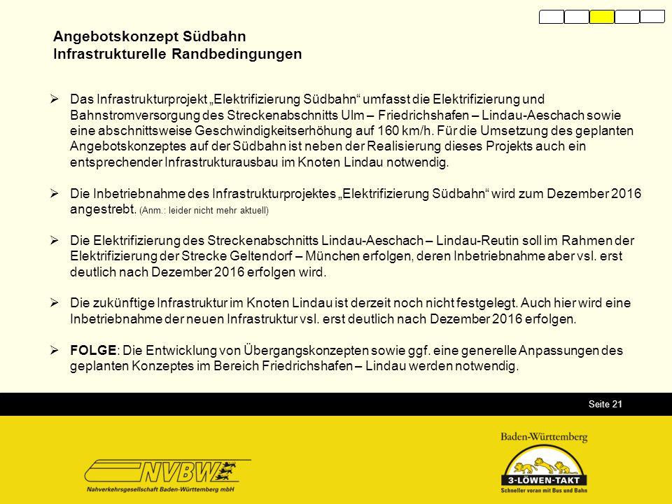"""Seite 21  Das Infrastrukturprojekt """"Elektrifizierung Südbahn"""" umfasst die Elektrifizierung und Bahnstromversorgung des Streckenabschnitts Ulm – Fried"""