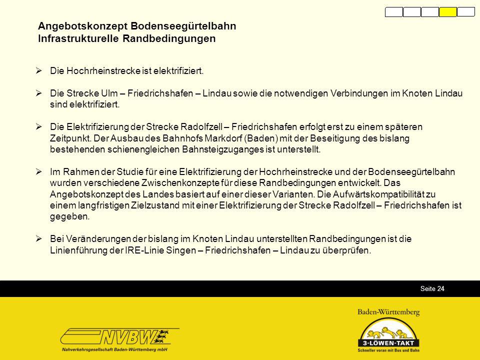 Seite 24  Die Hochrheinstrecke ist elektrifiziert.  Die Strecke Ulm – Friedrichshafen – Lindau sowie die notwendigen Verbindungen im Knoten Lindau s