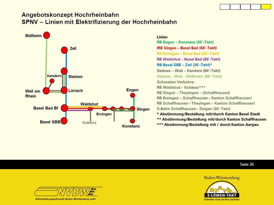 Seite 26 Angebotskonzept Hochrheinbahn SPNV – Linien mit Elektrifizierung der Hochrheinbahn