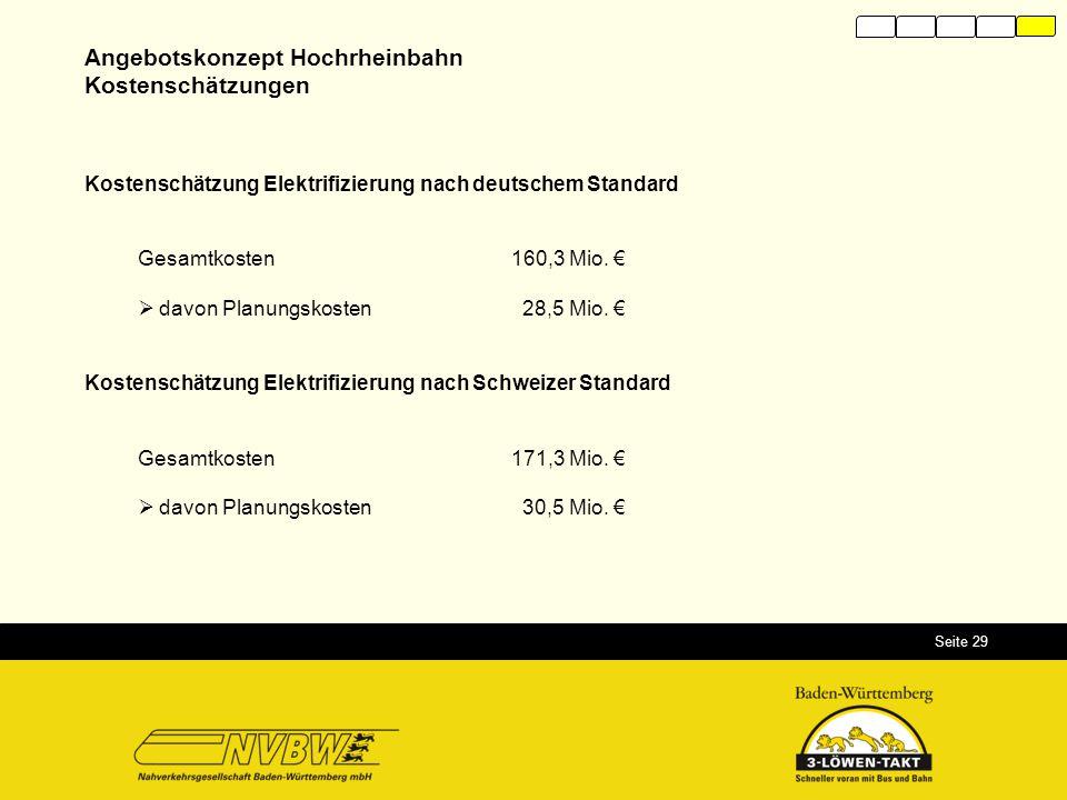 Seite 29 Kostenschätzung Elektrifizierung nach deutschem Standard Gesamtkosten160,3 Mio. €  davon Planungskosten 28,5 Mio. € Kostenschätzung Elektrif