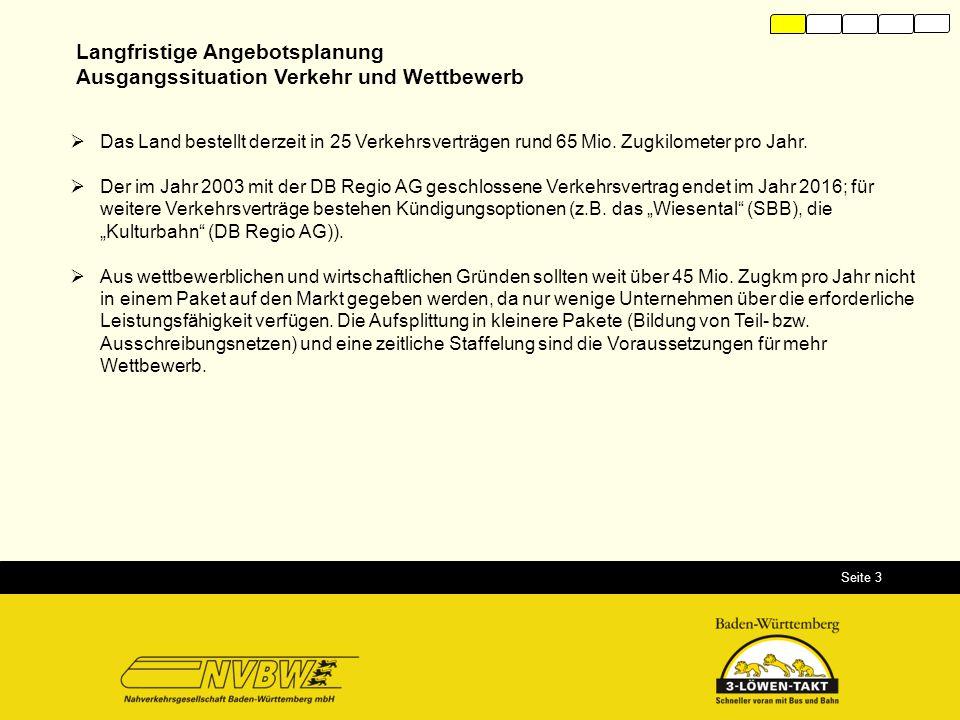 Seite 3  Das Land bestellt derzeit in 25 Verkehrsverträgen rund 65 Mio. Zugkilometer pro Jahr.  Der im Jahr 2003 mit der DB Regio AG geschlossene Ve