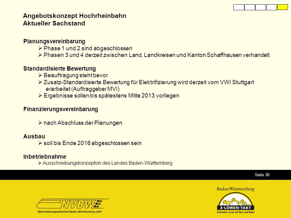 Seite 30 Angebotskonzept Hochrheinbahn Aktueller Sachstand Planungsvereinbarung  Phase 1 und 2 sind abgeschlossen  Phasen 3 und 4 derzeit zwischen L