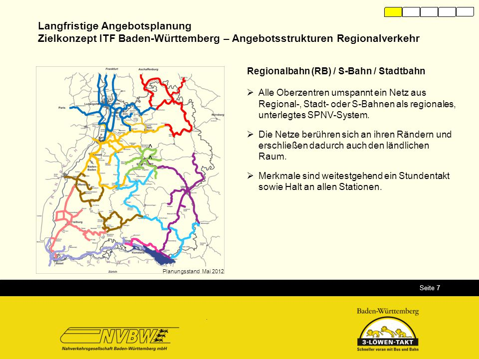 Seite 7 Langfristige Angebotsplanung Zielkonzept ITF Baden-Württemberg – Angebotsstrukturen Regionalverkehr Regionalbahn (RB) / S-Bahn / Stadtbahn  A