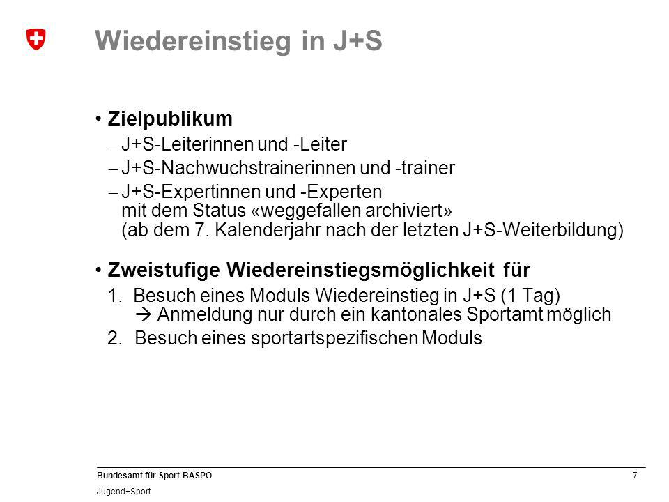 28 Bundesamt für Sport BASPO Jugend+Sport