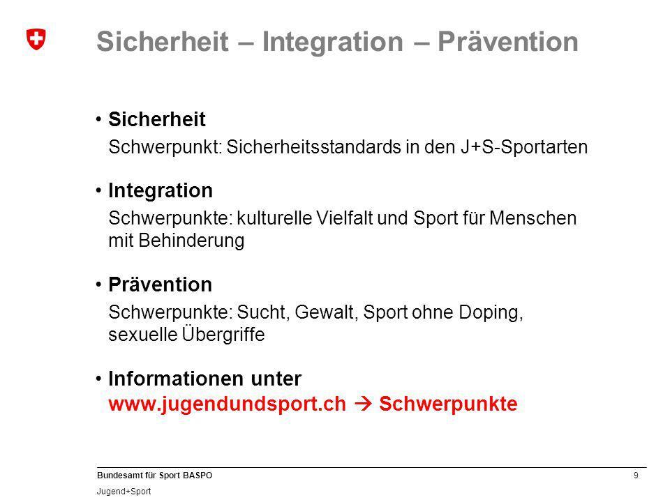 10 Bundesamt für Sport BASPO Jugend+Sport Sicherheit – Integration – Prävention J+S unterstützt das gemeinsame Sporttreiben von Kindern und Jugendlichen mit und ohne Behinderung.