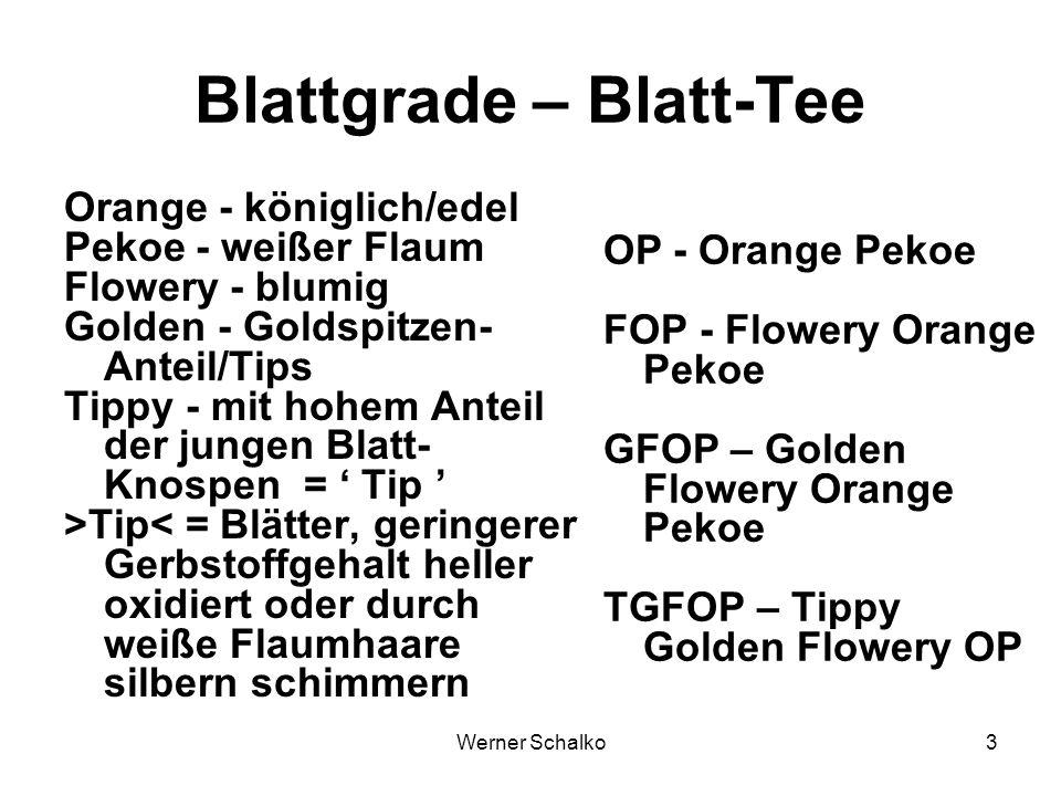 Werner Schalko3 Blattgrade – Blatt-Tee Orange - königlich/edel Pekoe - weißer Flaum Flowery - blumig Golden - Goldspitzen- Anteil/Tips Tippy - mit hoh