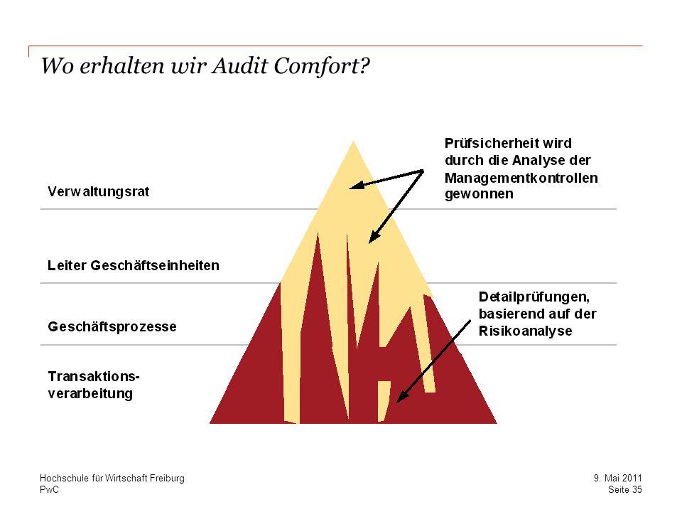 PwC Wo erhalten wir Audit Comfort? Seite 35 9. Mai 2011 Hochschule für Wirtschaft Freiburg
