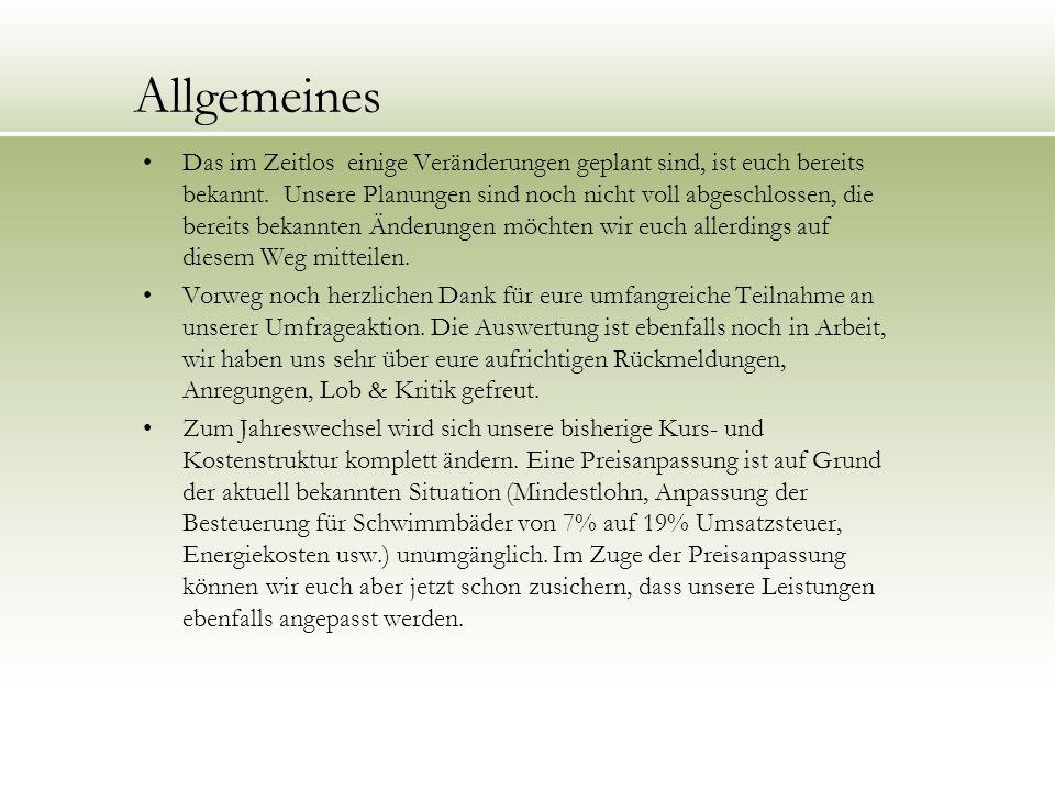 Kurs- und Preisstruktur aktuell/bisher ab 01.