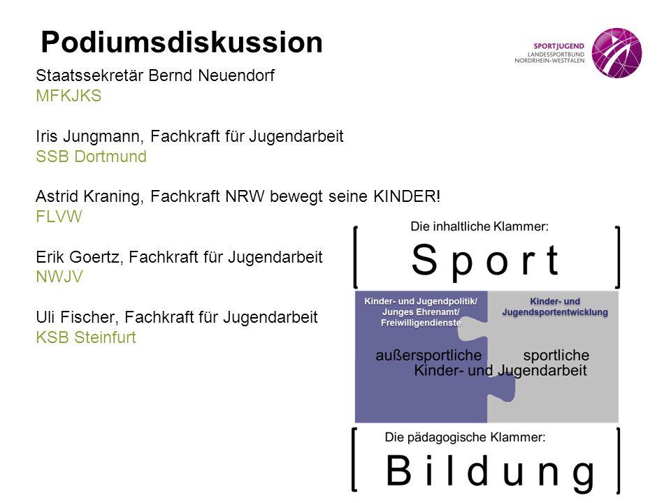 Podiumsdiskussion Staatssekretär Bernd Neuendorf MFKJKS Iris Jungmann, Fachkraft für Jugendarbeit SSB Dortmund Astrid Kraning, Fachkraft NRW bewegt se