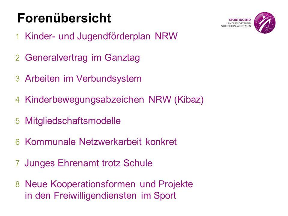 Forenübersicht 1 Kinder- und Jugendförderplan NRW 2 Generalvertrag im Ganztag 3 Arbeiten im Verbundsystem 4 Kinderbewegungsabzeichen NRW (Kibaz) 5 Mit