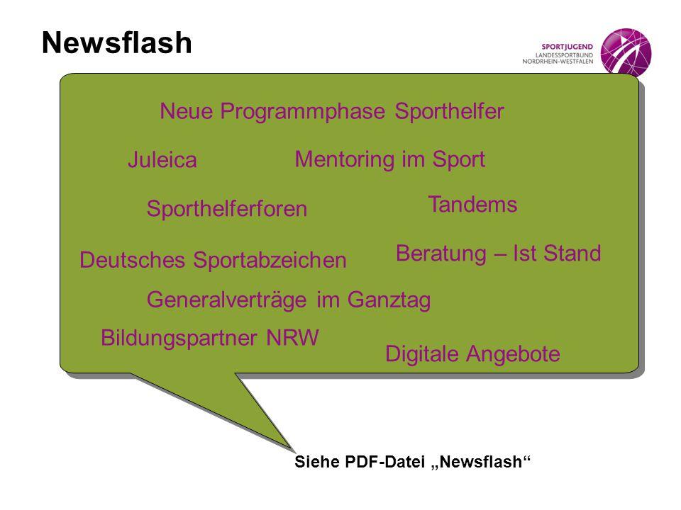 Newsflash Juleica Mentoring im Sport Generalverträge im Ganztag Tandems Beratung – Ist Stand Bildungspartner NRW Digitale Angebote Neue Programmphase