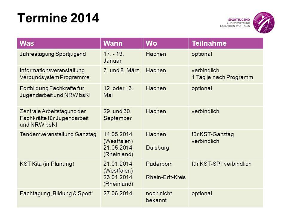 Termine 2014 WasWannWoTeilnahme Jahrestagung Sportjugend17. - 19. Januar Hachenoptional Informationsveranstaltung Verbundsystem Programme 7. und 8. Mä