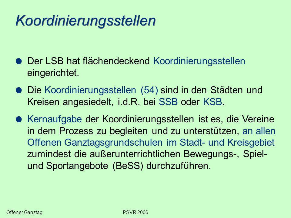 Koordinierungsstellen  Der LSB hat flächendeckend Koordinierungsstellen eingerichtet.