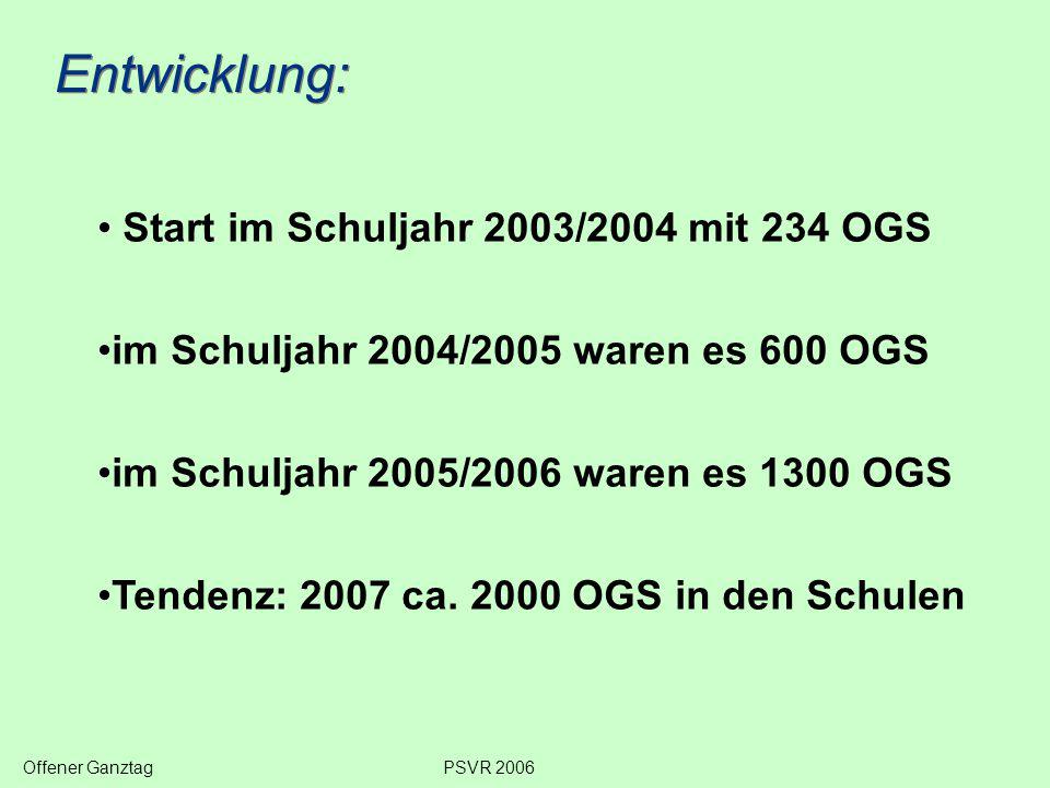 Entwicklung: Start im Schuljahr 2003/2004 mit 234 OGS im Schuljahr 2004/2005 waren es 600 OGS im Schuljahr 2005/2006 waren es 1300 OGS Tendenz: 2007 ca.